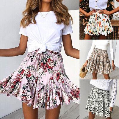 Fashion Floral Polka Dots Ruffle Women Pleated Short High Waist Wear Mini Skirt Wear Polka Dots