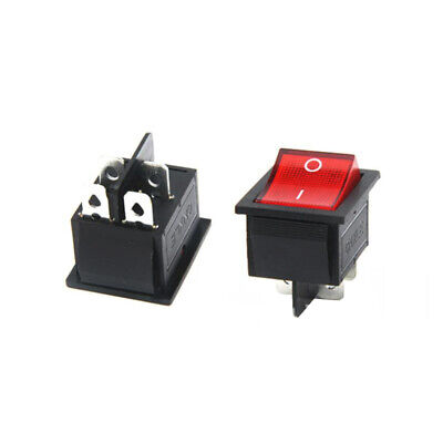 2 Pcs Red Button On-off 4 Pin Dpst Boat Rocker Switch For 16a 250v 20a 125v Ac