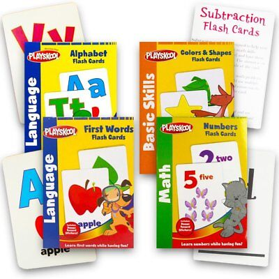 Playskool Flash Cards 4pcs SET Alphabet / First Words / Shapes Colors / Numbers. - Alphabet Flash Cards