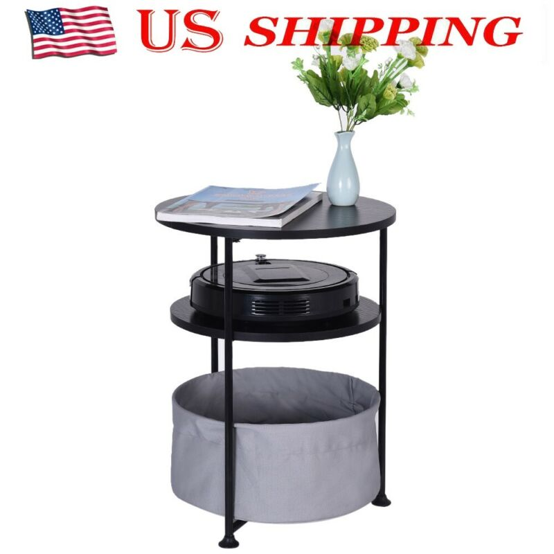 Living Room Dining Round Wood Side Table with Fabric Storage