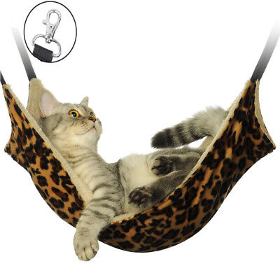 Pet Cat Hammock LARGE Leopard Fur Bed Animal Hanging Dog Cage Comforter Ferret ()