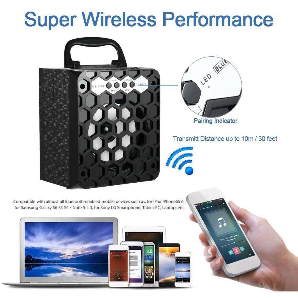 Haut-parleur 8 Watts Bluetooth,Radio FM Mobile, Lecteur Mp3 Carte mémoire SD USB