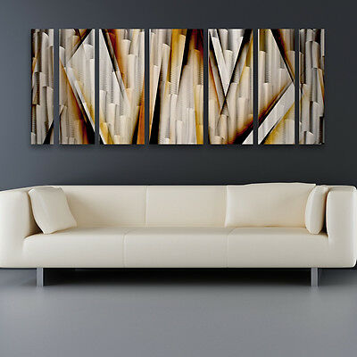 Modern Contemporary Abstract Metal Wall Art Sculpture  Brown Painting Home Decor