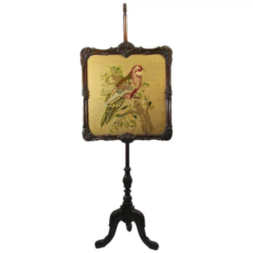 Victorian Carved Walnut Fire Screen with Needlepoint - 1900
