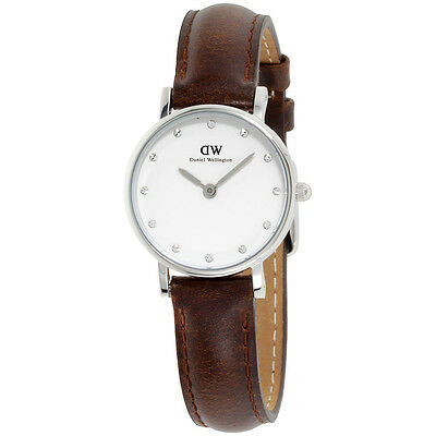 Daniel Wellington White Dial Brown Leather Strap Ladies Watch 0923DW
