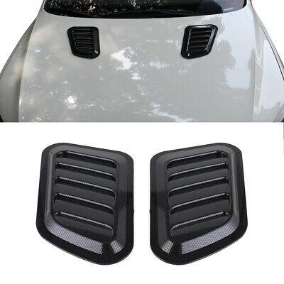 2x Universal Car Roof Air Flow Intake Hood Scoop Vent Bonnet Cover Carbon Fiber