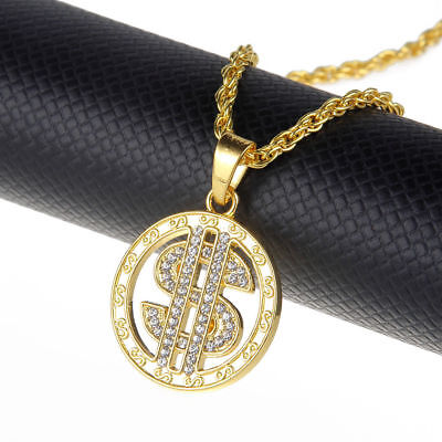 Men's Hip Hop Gold Round Crystal Dollar Sign $ Stainless Steel Pendant - Gold Dollar Sign Necklace