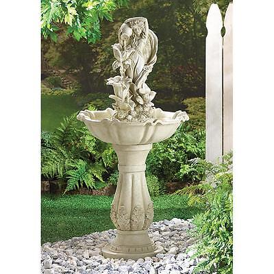 Fairy Maiden Goddess Shabby Victorian Statue bird bath Outdoor patio Fountain