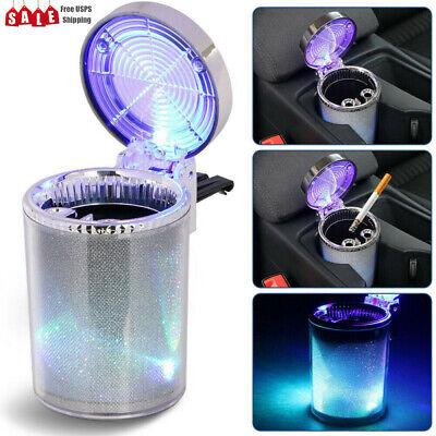 Portable Car Ashtray Travel Cigarette Cylinder Holder Cup - Colorful LED Light