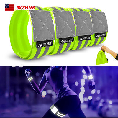 4Pc Running Reflective Arm/Waist/Ankle Bands Safety Leg Straps Tape Cycling Gear