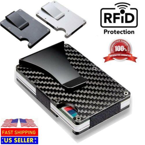 Carbon Fiber RFID Blocking Slim Money Clip Card Holder Metal Men's Wallet Gift Clothing, Shoes & Accessories