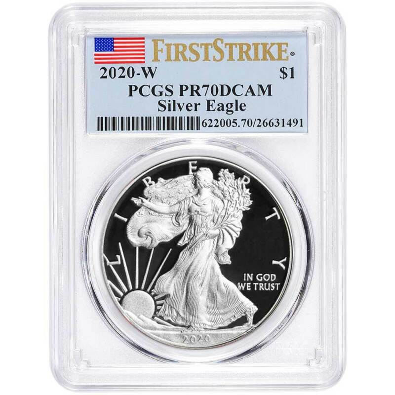 2020-W Proof $1 American Silver Eagle PCGS PR70DCAM First Strike Flag Label
