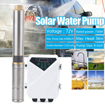 4 Dc Solar Water Pump Bore Hole Submersible Controller Deep Well Plastic Impell