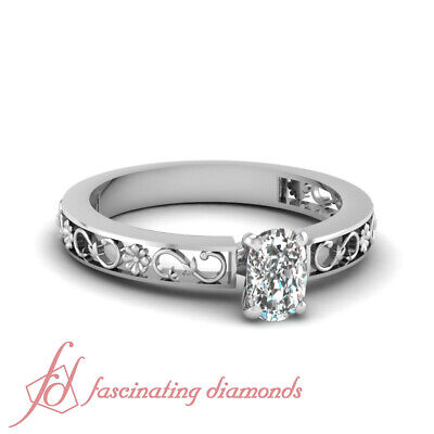 1/2 Carat Cushion Cut Diamond Solitaire Floral Carved Engagement Ring VVS2 GIA