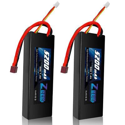 2pcs Zeee 5200mAh 50C 7.4V LiPo Battery 2s Dean Hardcase for RC Car Truck Boat