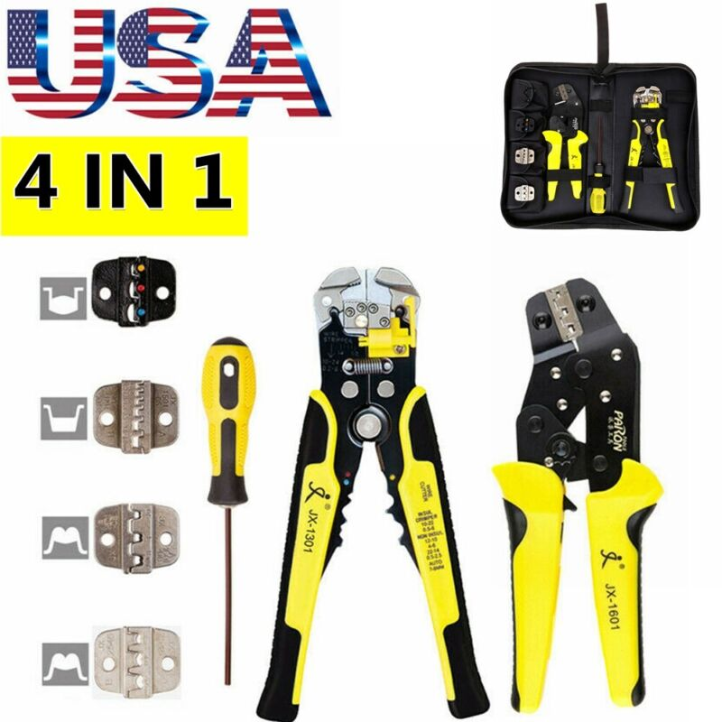 Pro Ratcheting Wire Crimper Crimping Pliers Cord End Terminal Tool Kit Set US