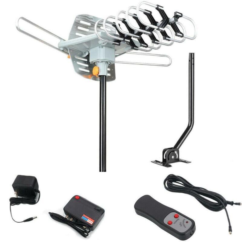 300 Mile HDTV 1080P Outdoor Amplified 360°Rotation Antenna HD TV UHF VHF + Pole