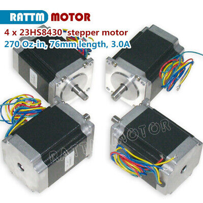 4pcs Nema23 76mm 270oz-in1.8n 3a Stepperstepping Motor 8mm Dia Shaft For Cnc