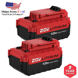 For PORTER CABLE PCC685L 20V MAX Lithium PCC680L 4.0Amp Hour 2Pack Drill Battery