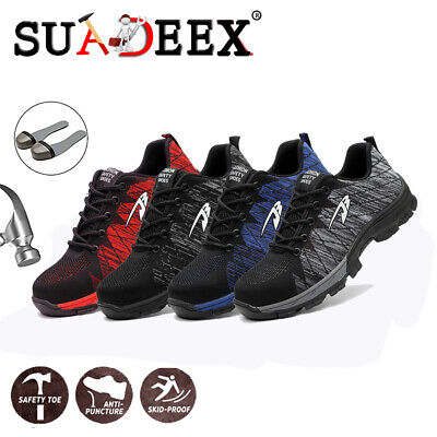 Mens Safety Working Shoes Industrial Breathable Protective Trekking Hiking - Industrial Safety Boots