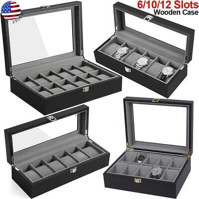 6/10/12 Slots Watch Box Wooden Watch Display Case Organizer Collector Storage US