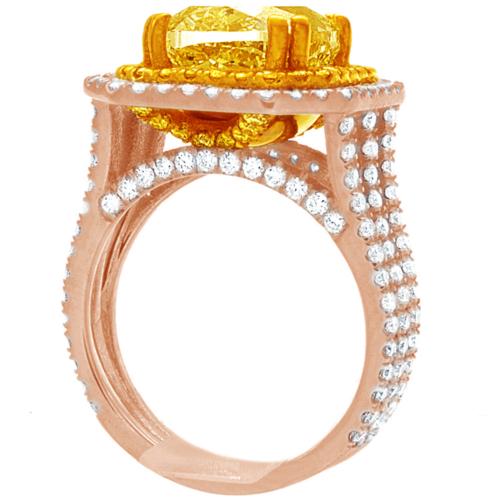 Diamond Engagement Ring GIA Certified 5.25 CT Fancy Yellow Cushion Cut Platinum 6