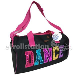 Youth Girls Dance Swim Duffle Bag Ballet Pack Multicolored Dance Print Fuchsia