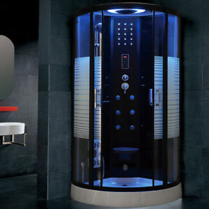 Modern Quadrant Steam Shower Room Cubicle Enclosure Cabin 900x900mm Model Monaco