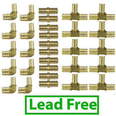 30 12 Lead Free Brass Pex Fitting 10 Each Elbow Coupler Tee