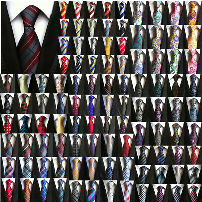 Classic Mens Stripe Paisley Floral Checks Necktie JACQUARD WOVEN 100% Silk Tie ()