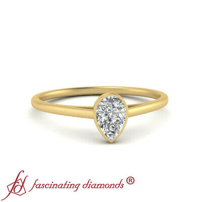 Half Carat Pear Shaped Diamond Single Solitaire Wedding Ring In 18K Yellow Gold