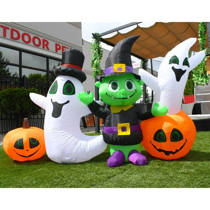 ALEKO Outdoor Yard Decoration Halloween Inflatable 3 Ghosts and 2 Pumpkins 4 ft