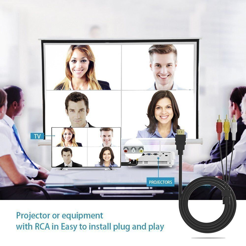 как выглядит Видео кабель, коннектор HDMI Male to 3 RCA Video Audio AV Cable Adapter For 1080P HDTV DVD фото