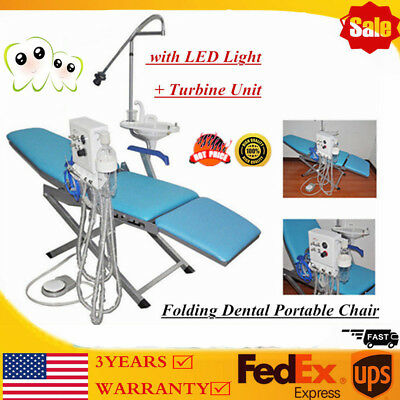 Portable Dental Folding Chair Mobile Turbine 4 Hole Led Lamp Light Weak Suction