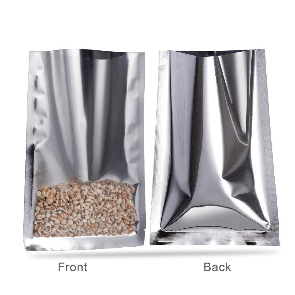 Open Top Silver Aluminum Foil Bag Flat Mylar Heat Seal Food Storage Pouch Vacuum