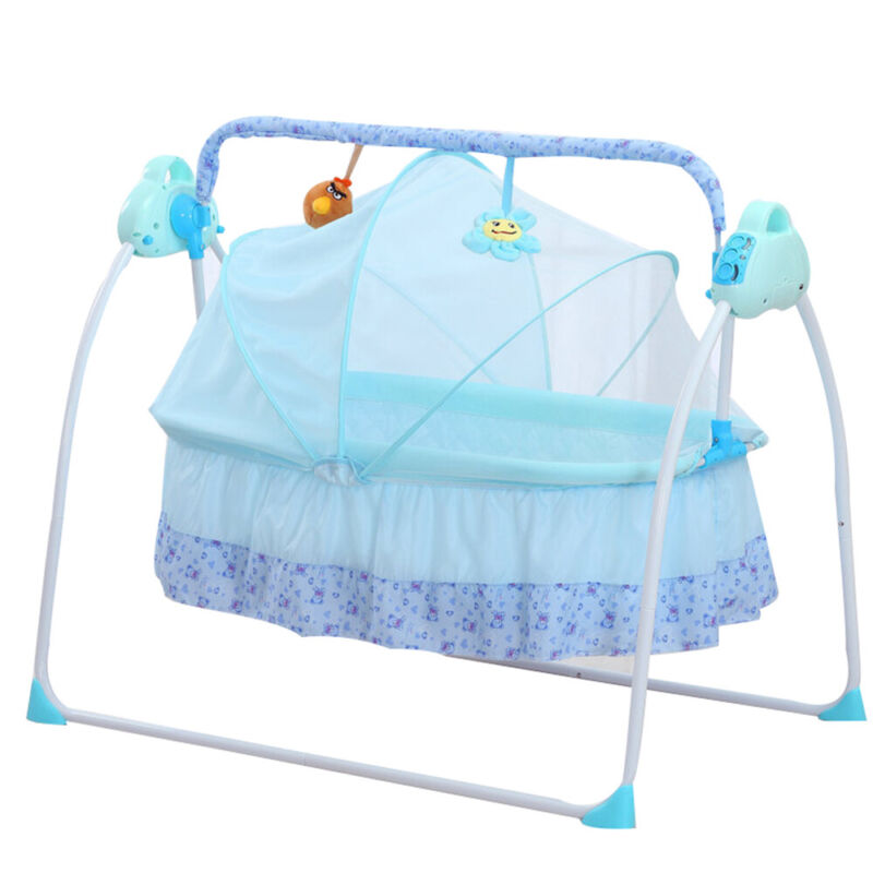 Electric Swing Baby Crib Cradle Bassinet Music Swing Sleeping Bed with Remote