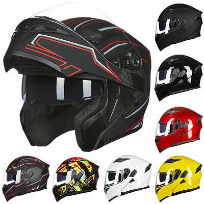 Motorcycle Dual Visor Flip up Modular Full Face Helmet DOT Approved M L XL -