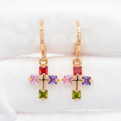 18K Yellow Gold Filled Multi-Color Cross Mystic Topaz Women Dangle Earrings Multi Cross Dangle