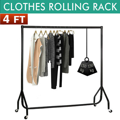 4ft Single Bar Commercial Heavy Duty Clothes Rolling Garment Rack Stand Hanger