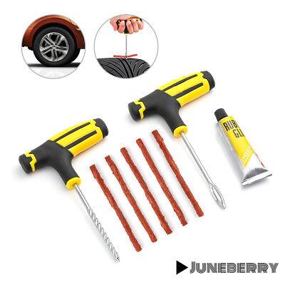 Car Tubeless Tyre Tire Puncture Repair Plug Repairing Kit Needle Patch Fix Tools