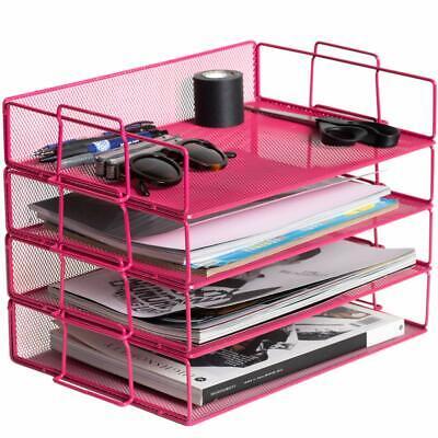 Klickpick Office 4 Tier Stackable Heavy Duty Metal Desktop Letter Tray File O...