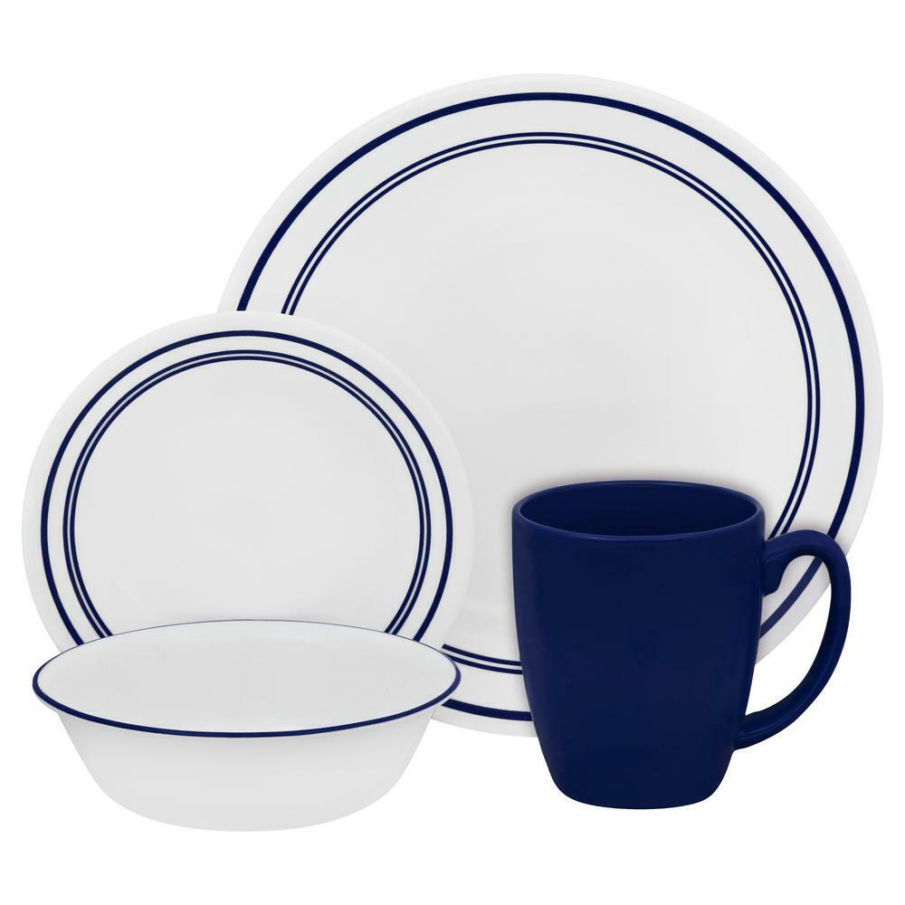 Corelle Dinnerware Set 16 Round Cafe Blue Chip Resistant Lig
