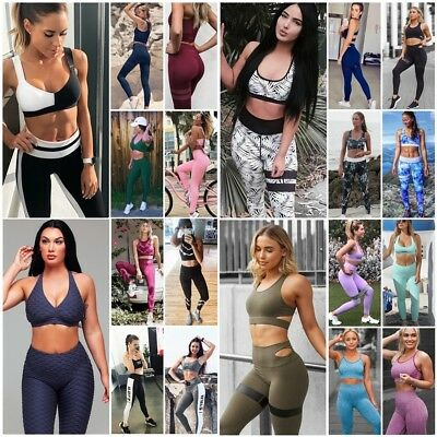 Women Sports Gym Yoga Running Fitness Leggings Athletic Clothes Bra+Pants Sets