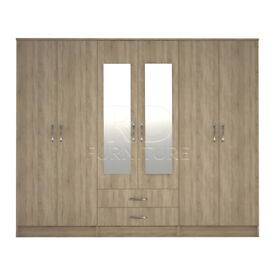 Beatrice wardrobe 4 you, 2,28m wide 6 door oak wardrobe