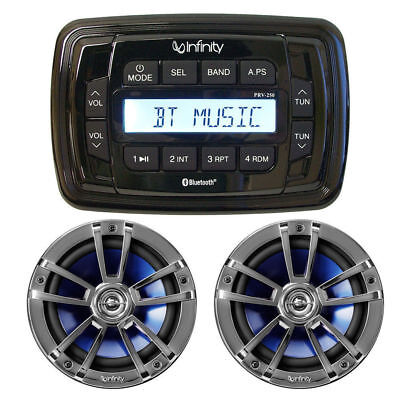 "Infinity Bluetooth Marine Waterproof Boat Radio & 6"" 2-Way Speakers Stereo Kit"