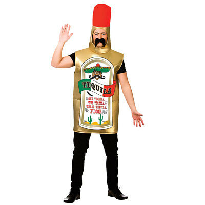 Adults Tequila Bottle Costume for Mexico Mexican Alcohol Cocktail Fancy Dress