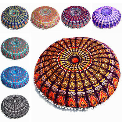 Large Mandala Floor Pillows Round Bohemian Meditation Cushion Cover Ottoman