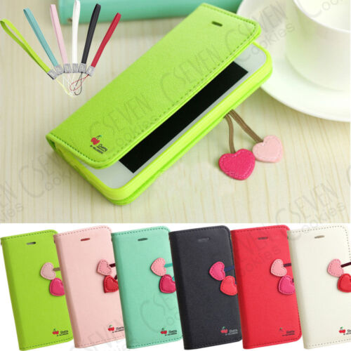 For IPhone 5 5S Cherry Leather Stand Flip Wallet Cute Cover Case Free Protector