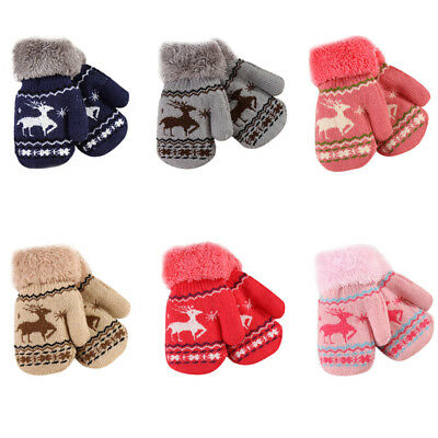 Christmas Infant Kids Baby Girl Boy Winter Warm Gloves Thick Fur Knitted Mittens