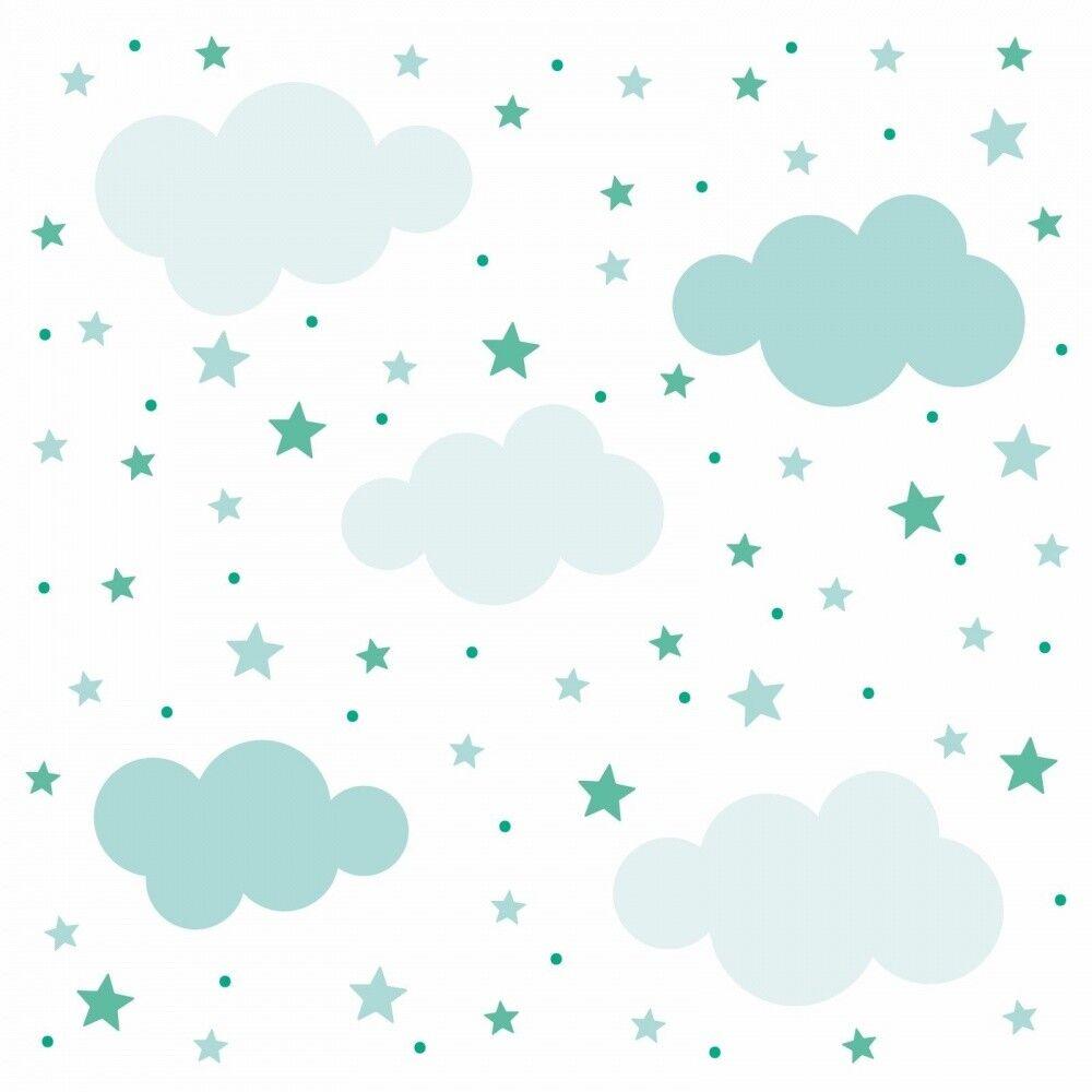 142 Wandtattoo Wolken Sterne Punkte Set Mint Weiß Kinderzimmer Junge Baby  Deko